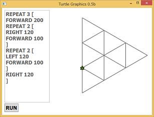 Screen shot of a program Turtle Graphics 0.5b