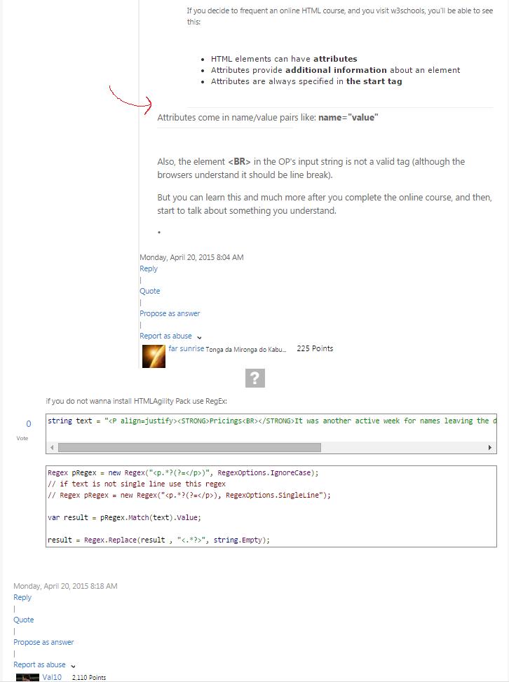 Screenshot of formatting problem