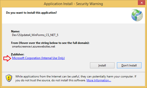 ClickOnce Application Install - Security Warning