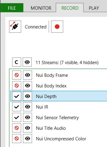 Kinect Studio Recording for Depth and IR Streams