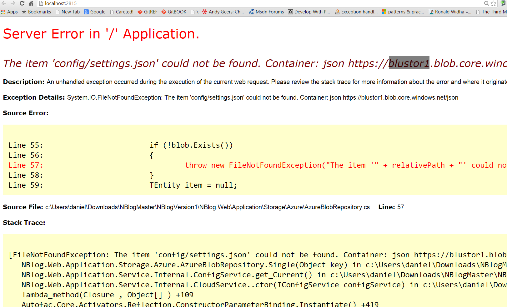 Azure-blob NBLOG config/settings json could not be found