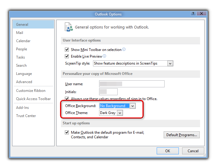 Changing to a theme with color in Office 2013?