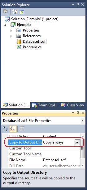 Propiedades - Copy to Output Directory