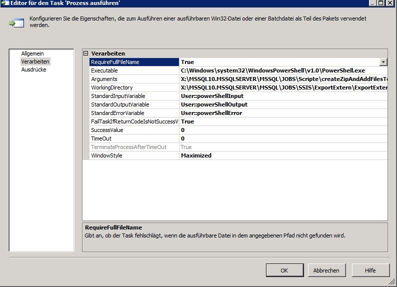 unzip files using execute process task