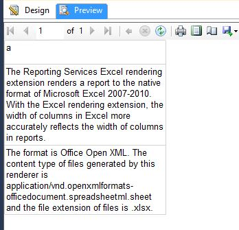 Data shrinks when SSRS report export to excel