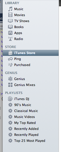 Itunes like sidebar