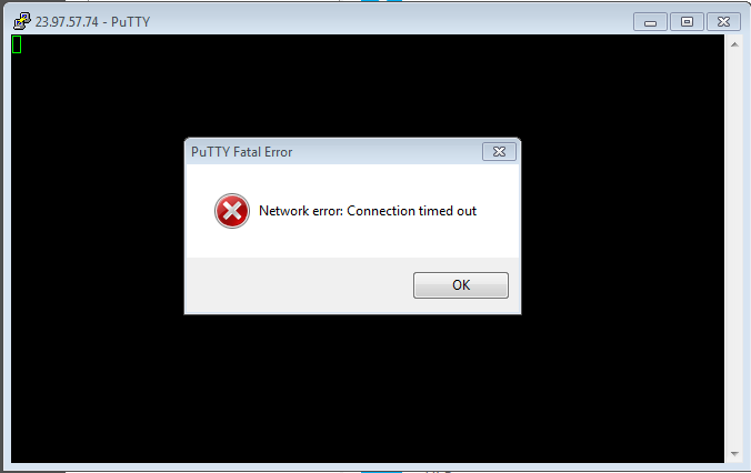 Network error : Connection timed out on putty
