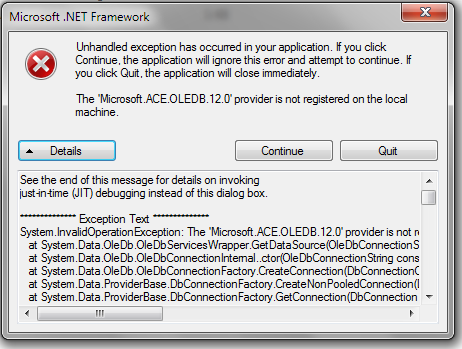 microsoft ace oledb 12 0 provider is not registered on the local machine