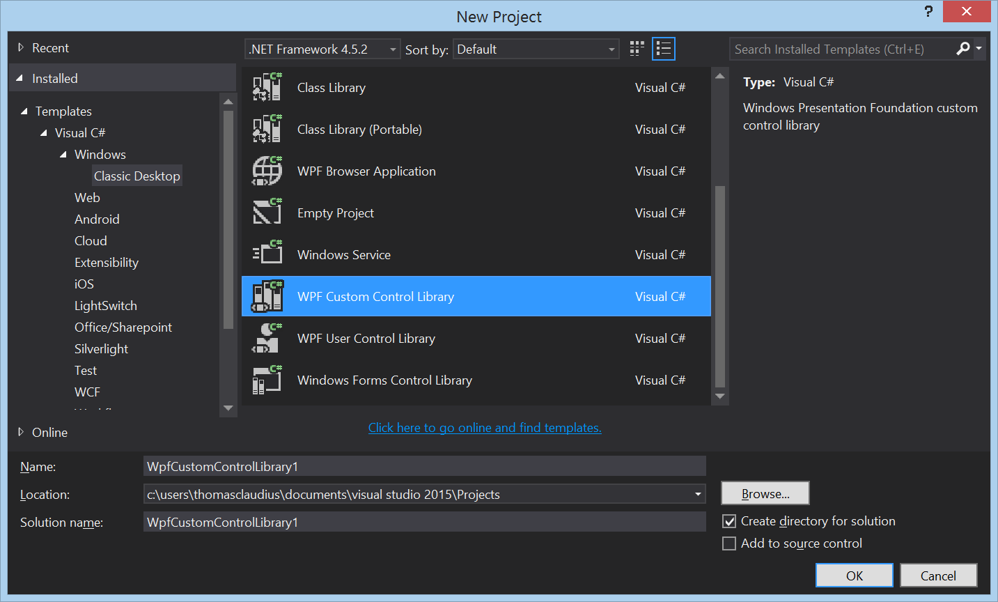 How to create a WPF custom control library