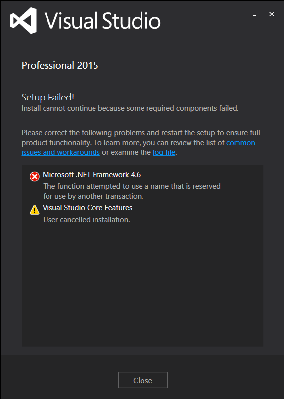 Visual Studio 2015 Professional Installation Failed
