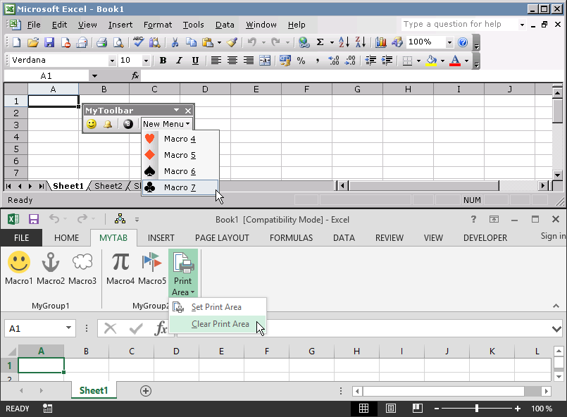 Comparison of Excel 2003 vs. Excel 2013 submenu options