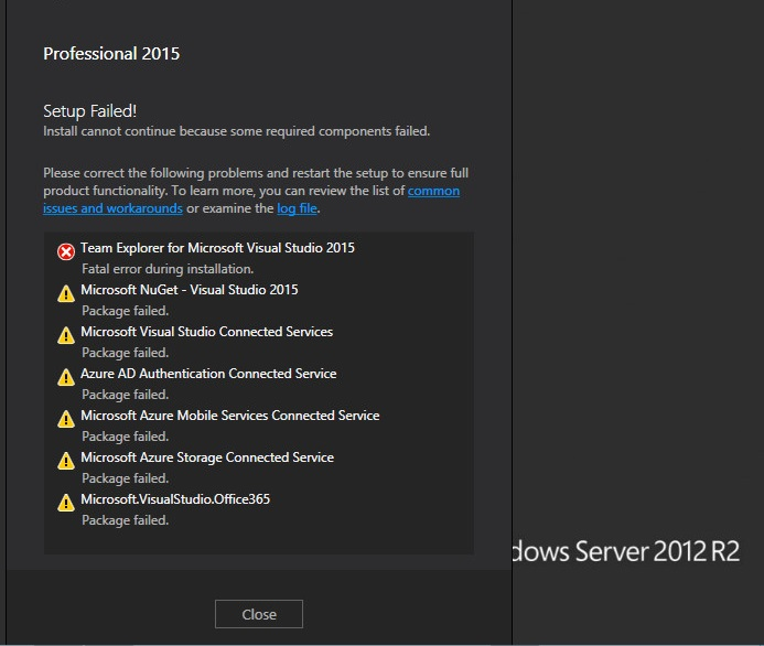 Not Able To Install VS2015 (professional) On Windows 2012 R2