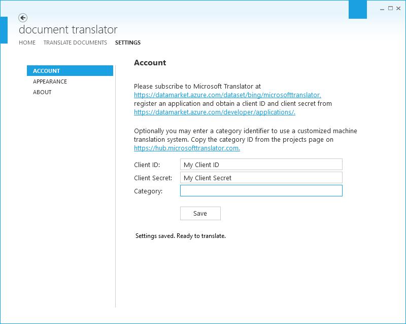 Document Translator Account Settings page