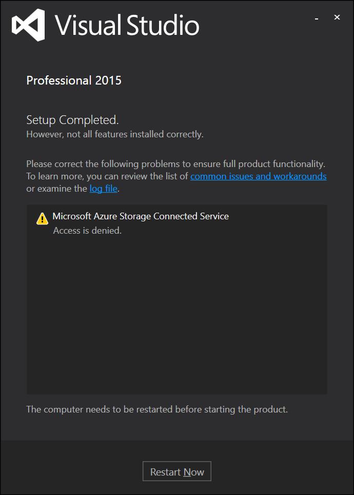 Visual Studio 2015 Pro installation is