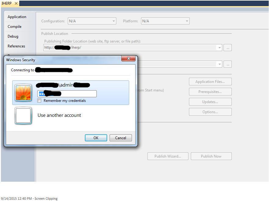 Windows Security Dialog Box during deployment