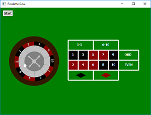 Screen shot of a program Small Roulette 0.4a