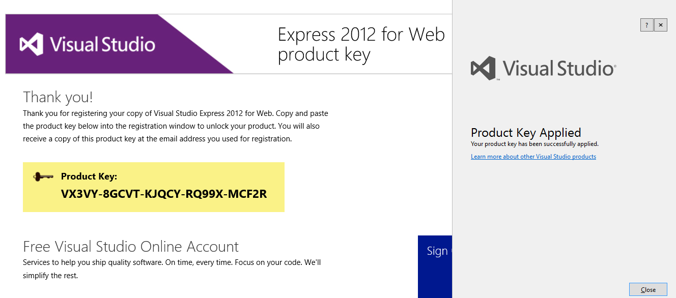 microsoft visual studio 2012 registration key