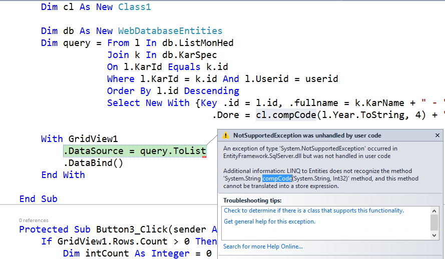 Error to Calling User Defined Function in Linq