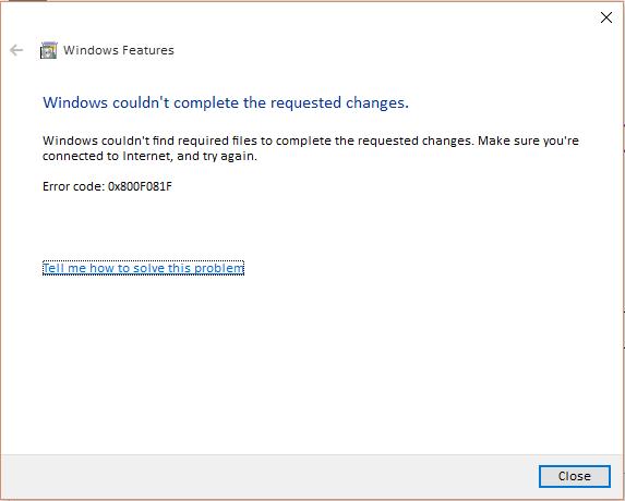 Problem enabling .Net Framework 3.5 on Windows 10
