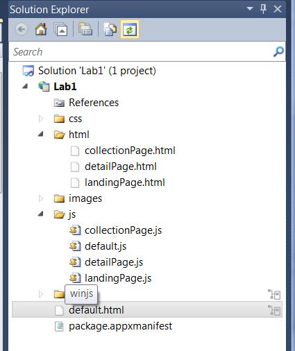 JavaScript Metro Style project folders