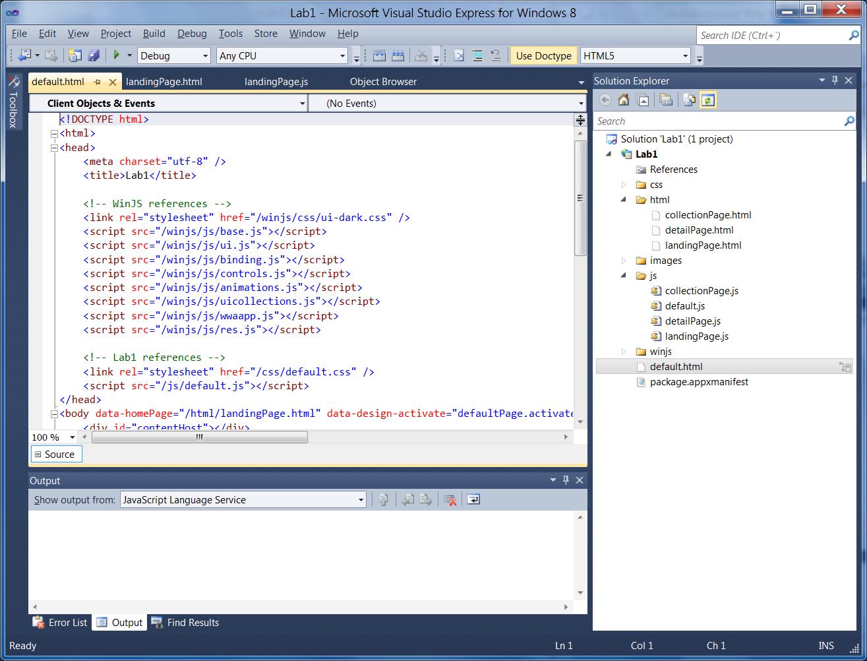 JavaScript Metro style default.html