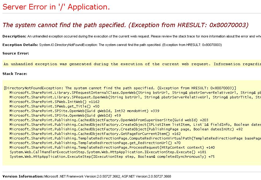 Root Site Error