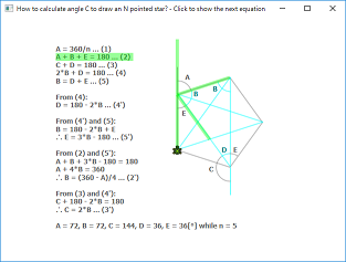 Screen shot of a program Calculate Angle C for a Star