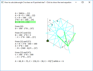 Screen shot of a program Calculate Angle C for N Pointed Star