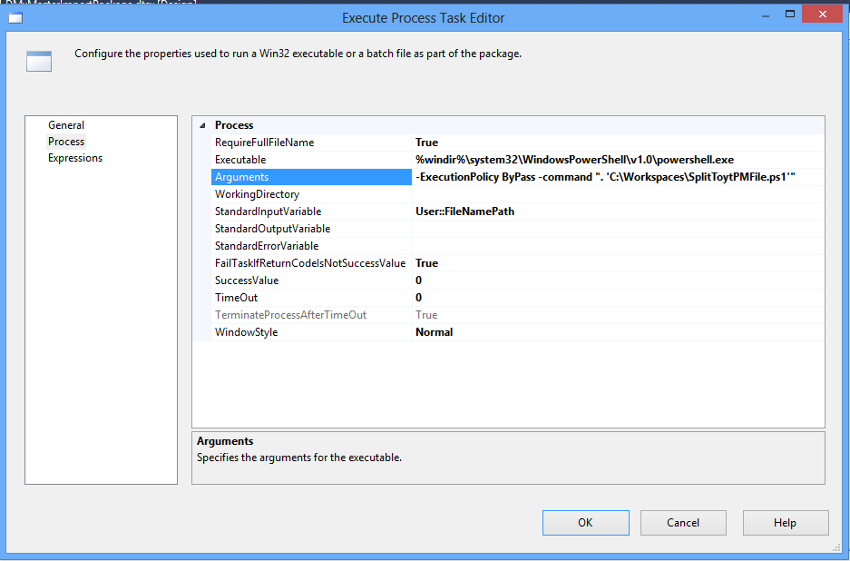 Pass parameters to SSIS Execute Process Task