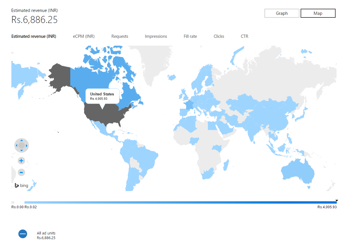 World map view of ads performance reports now live in dev center you can also view your app level ads performance report by navigating to the app and visiting the analyticsadvertising performance page gumiabroncs Image collections