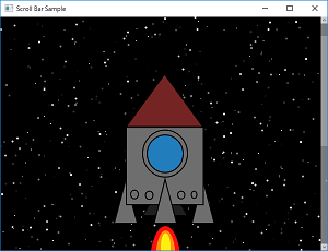 Screen shot of a program Scroll Bar Sample