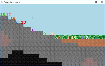 Screen shot of a program Platform Game Sample 0.3a