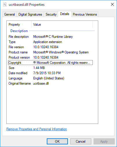 vs2015 c++ project needs ucrtbased dll, how to install?