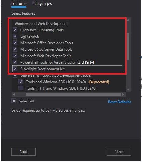 Community 2015 web development tools installation not available