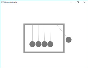Screen shot of a program Newton's Cradle