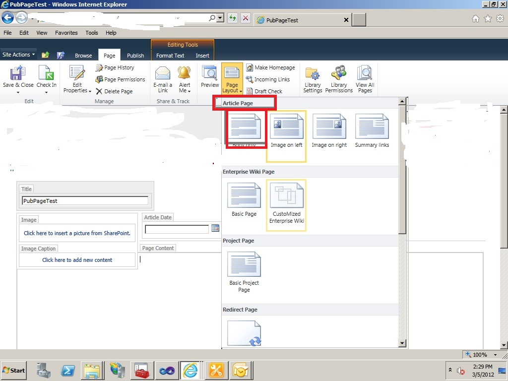 how to create page sharepoint 2010