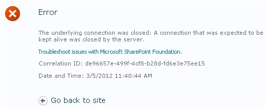 Sharepoint SSRS report showing HTTP error 502 connection reset by peer