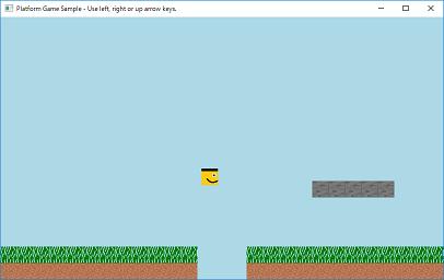 Screen shot of a program Platform Game Sample 0.4b