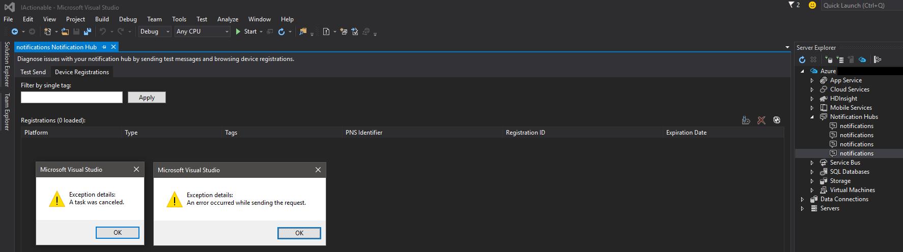 Visual Studio Hub Notifications Errors
