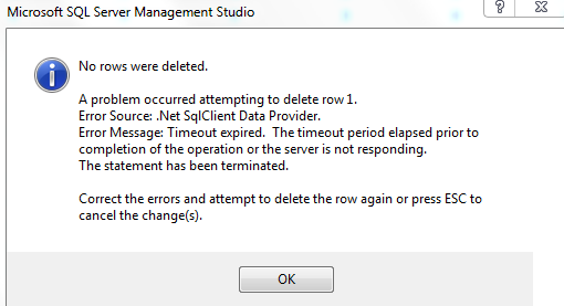 SQL Server Timeout expired when update, delete or insert record but not  when select