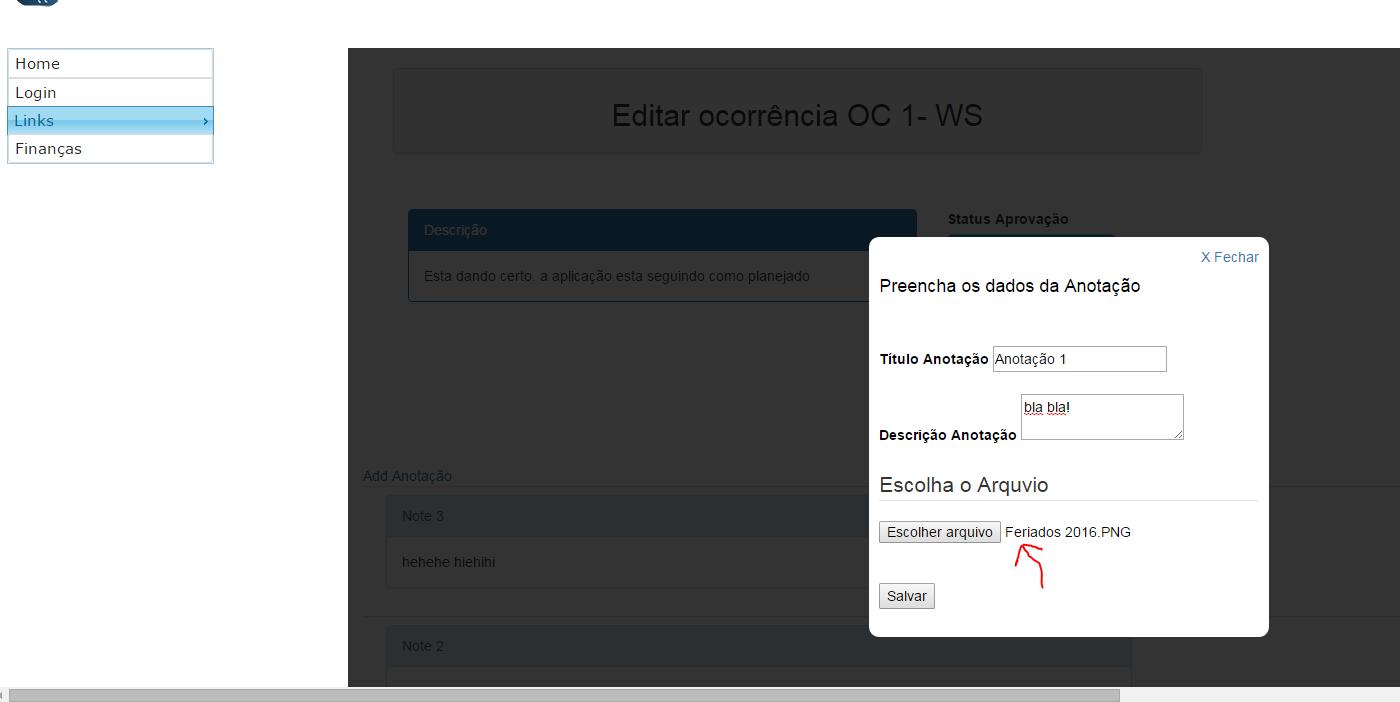Apos salvar o arquivo, essa tela desaparece quando uso o Submit do form.