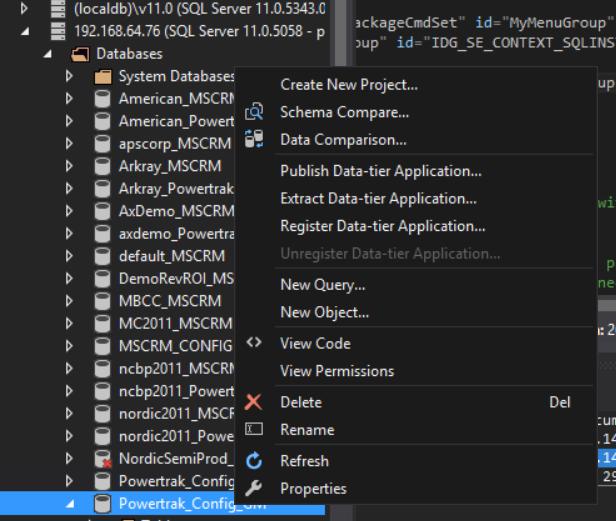 Database Context Menu