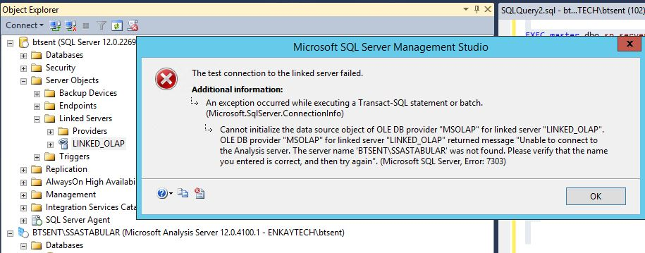 Error while testing LINKED SERVER connecting to Analysis