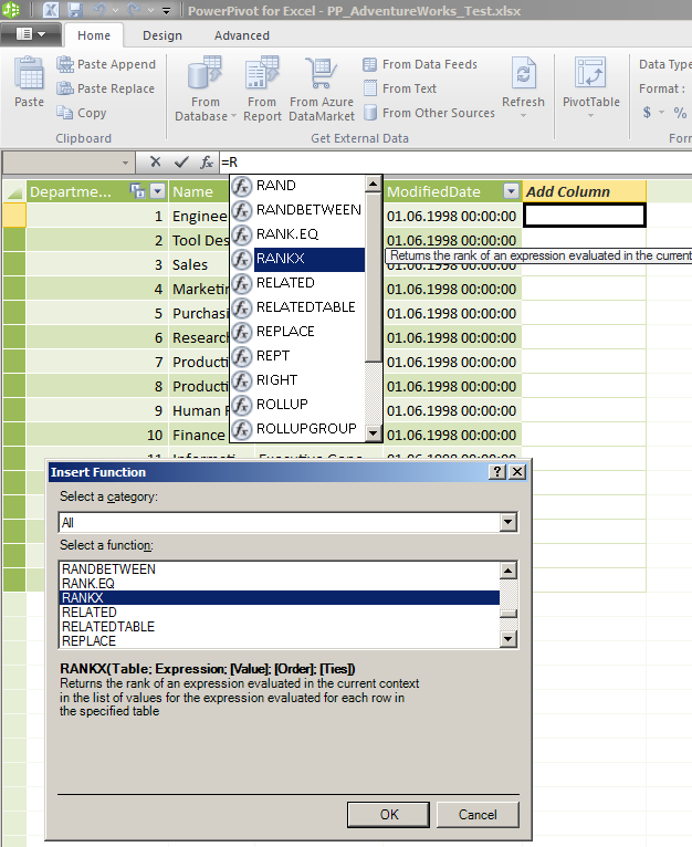 DAX RANKX - Cannot find in PowerPivot for Excel 2010
