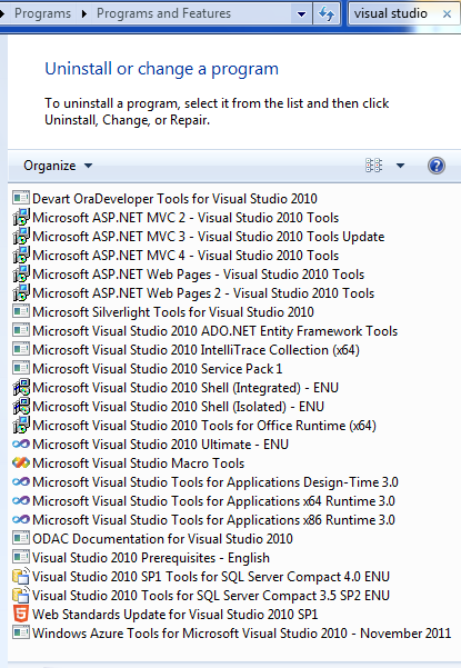 Visual Studio installs