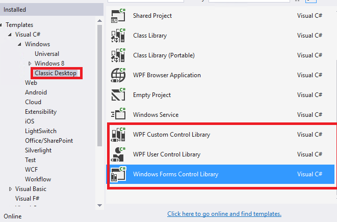 wpf custom control library wpf user control library and windows forms control library i think the windows control template has been divide into these