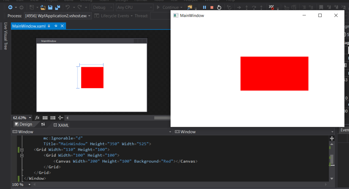 Drawing Grid Lines In Canvas Wpf : Wpf why different results design mode vs runtime