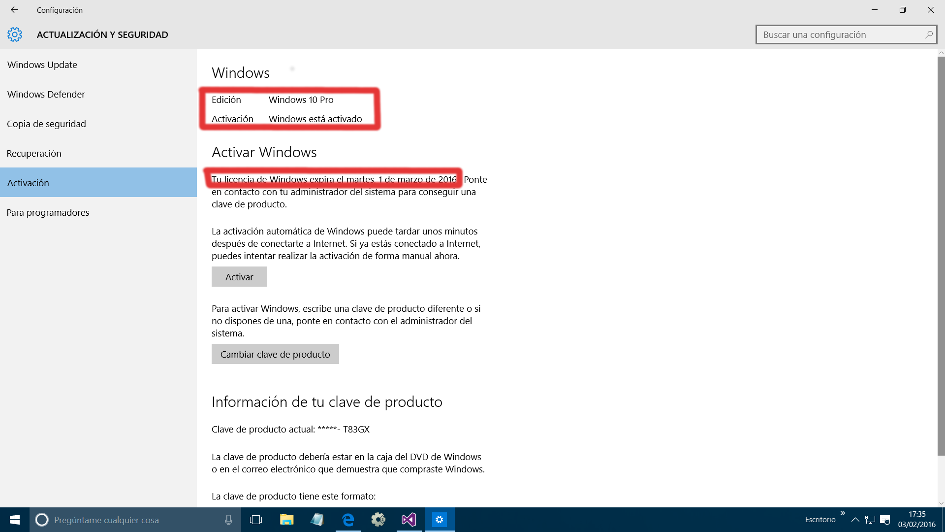 clave para activar windows 10 pro 2016
