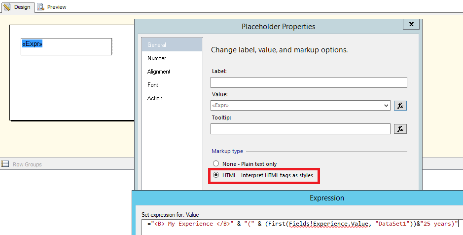 How to make font of a SSRS expression generated value bold at the