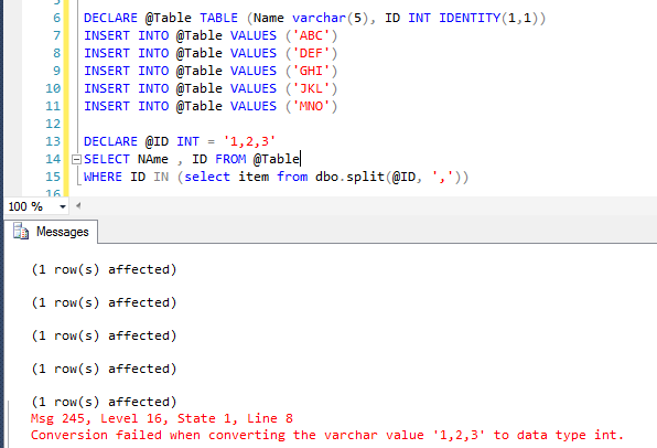 Conversion failed when converting the varchar value to data type int